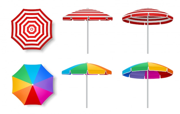 Set of colorful beach umbrellas