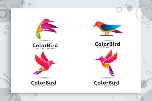 Set of colorful bird logo