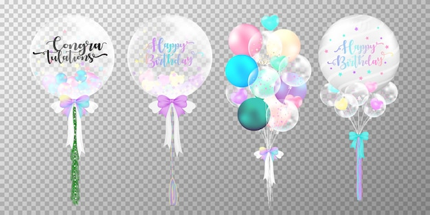 Set of colorful birthday balloons on transparent background.