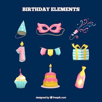 Set di elementi di compleanno colorati