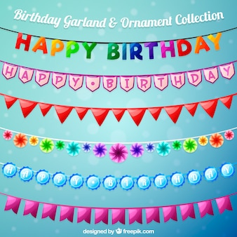 Set of colorful birthday garlands