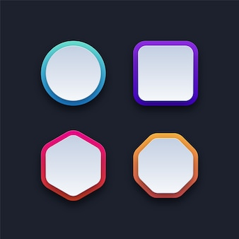 Set of colorful blank buttons