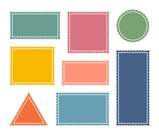 Set colorful blank postage stamp.toothed border mailing postal sticker template.