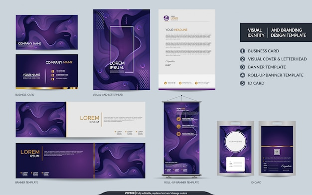 Set of colorful branding elements