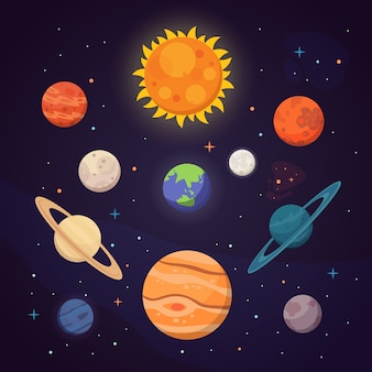 Set of colorful bright planets. solar system, space with stars. cute cartoon  illustration.