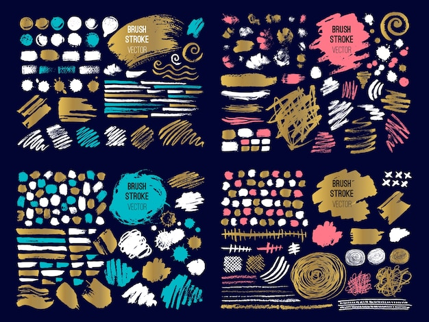 Set of colorful brush strokes and spots Premium Vector