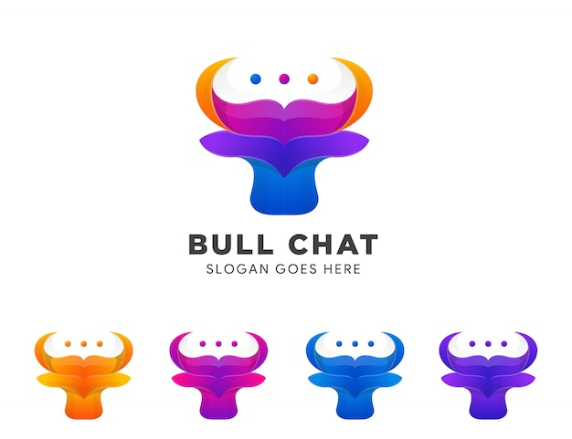 Set of colorful bull talk or chat negative space mark icon symbol logo  creative .