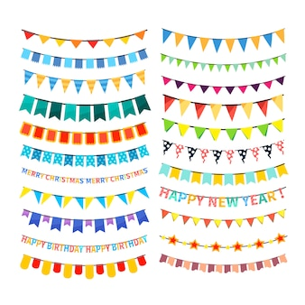 Set of colorful bunting and garlands isolated on white