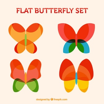 Set of colorful butterflies in abstract style