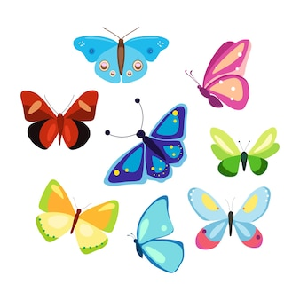 A set of colorful butterflies in a cartoon style a collection of patterned winged vector insects