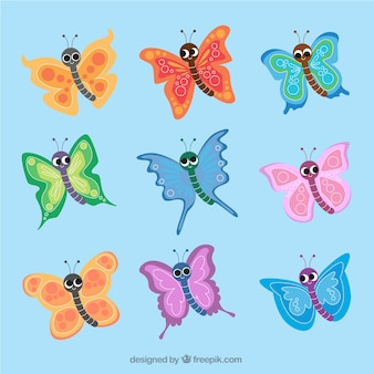 Set of colorful butterflies in childish style