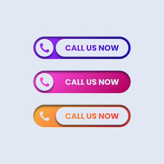 Set of colorful call us buttons