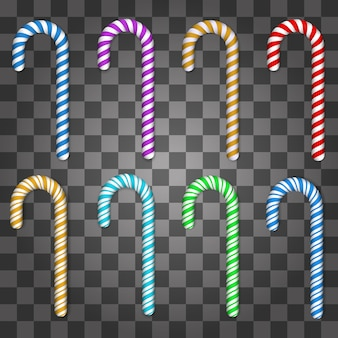 Set of colorful candy cane isolated on transparent background