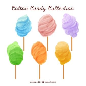 Set di cotoni colorati di caramelle Vettore gratuito