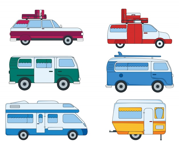 Set of colorful car for travel and trip.