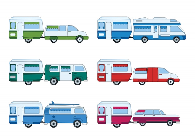 Set of colorful car with trailer for travel and trip