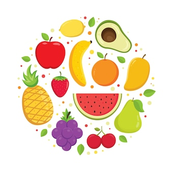 Set of colorful cartoon fruit vector