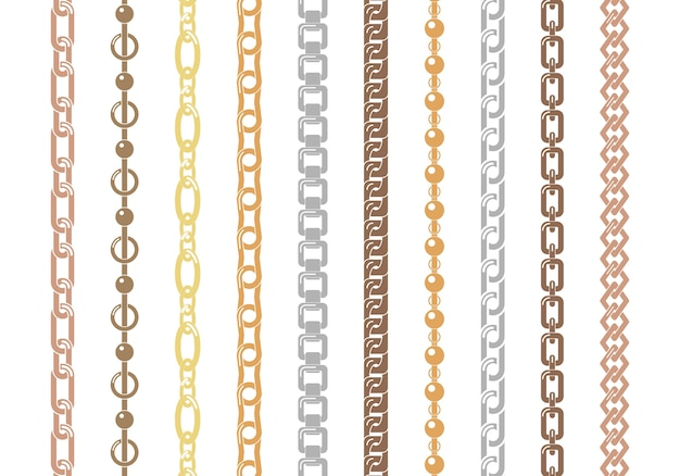Set of colorful chains isolated on white background. silver and gold vertical and horizontal chains set of various ornament shapes and thicknesses.