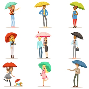 Set of colorful characters  illustrations  on white background