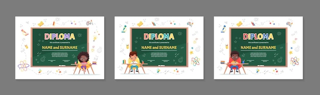Set of colorful children diploma certificate for kindergarten or elementary preschool with cute children kids sitting at the table and making the homework cartoon flat