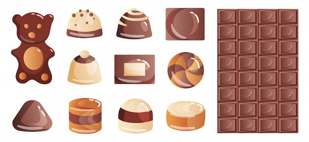 Set of colorful chocolate desserts and candies from boxes for a lunch snack or coffee break.