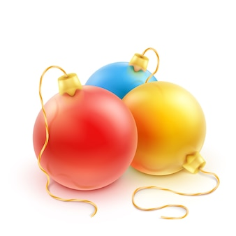 Set of colorful christmas balls on a white background.