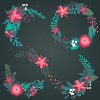 Set of colorful christmas floral wreaths with winter flowers branches berries
