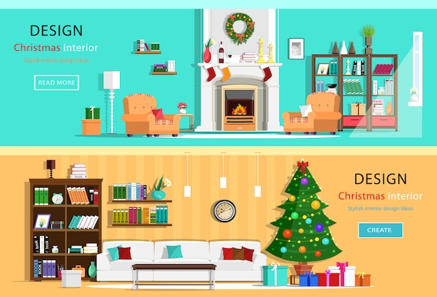 Set of colorful christmas interior design house rooms with furniture icons. christmas wreath, christmas tree, fireplace. flat style illustration