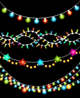 Set of colorful christmas lights garland on black background