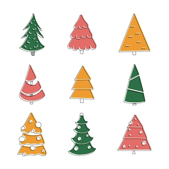 Set of colorful christmas trees can be used for printed materials  leaflets posters