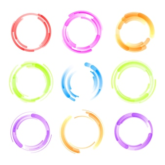 Set of colorful circle isolated on white background. circular colored lines.
