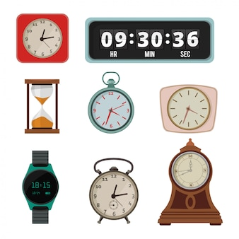 Set of colorful clock in flat style