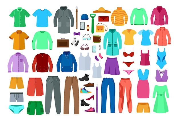 Set of colorful clothes for men and women. cartoon illustration