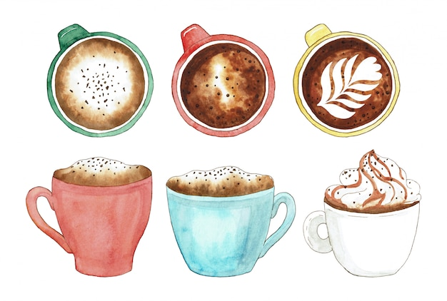 Set of colorful coffee cup and hot chocolate mug. watercolor illustration elements