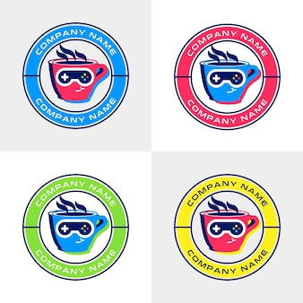 Set of colorful coffee cup logo template with joystick sunglasses for cafe with games themed