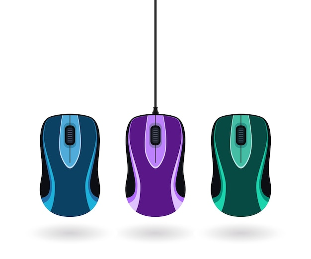 Set of colorful computer mice. simple flat vector illustration isolated on white background