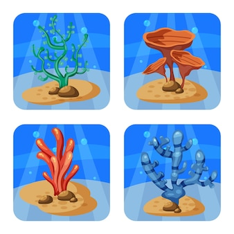 Set of colorful corals and algae on a blue background