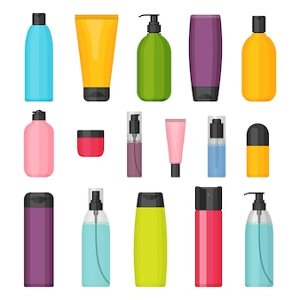 Set of colorful cosmetic bottles.