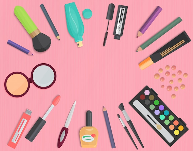 Set of colorful cosmetic top view