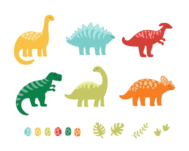 Set of colorful cute kids dinosaurs and eggs