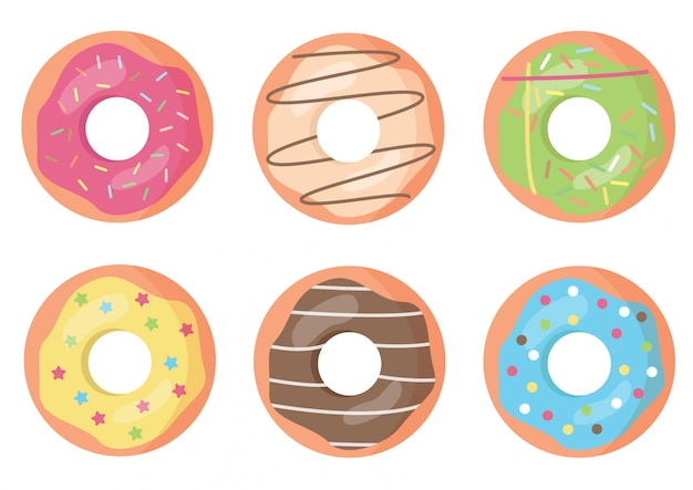Set of colorful and decorated donuts.