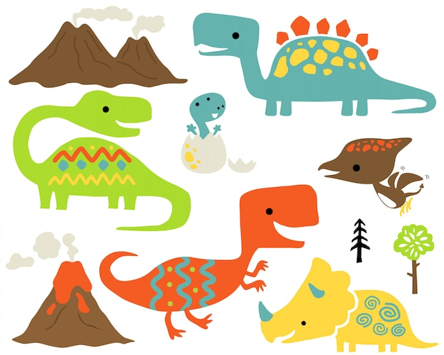 Set of colorful dinosaurs cartoon