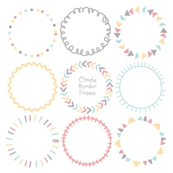 Set of colorful doodle borders circle frame.