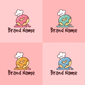 Set of colorful doughnut with chef hat logo template for bakery company in pink background