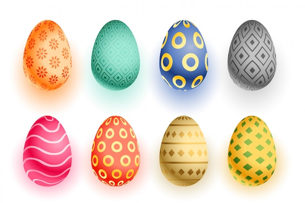 Set of colorful easter 3d realistic eggs