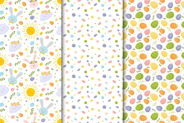 Set of colorful easter seamless patterns