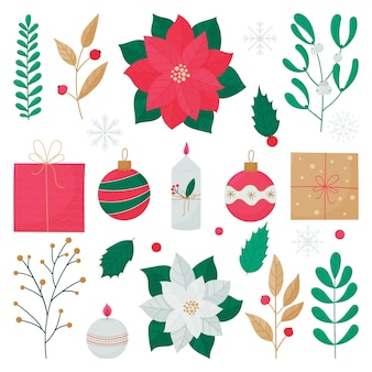 Set of colorful elements for christmas