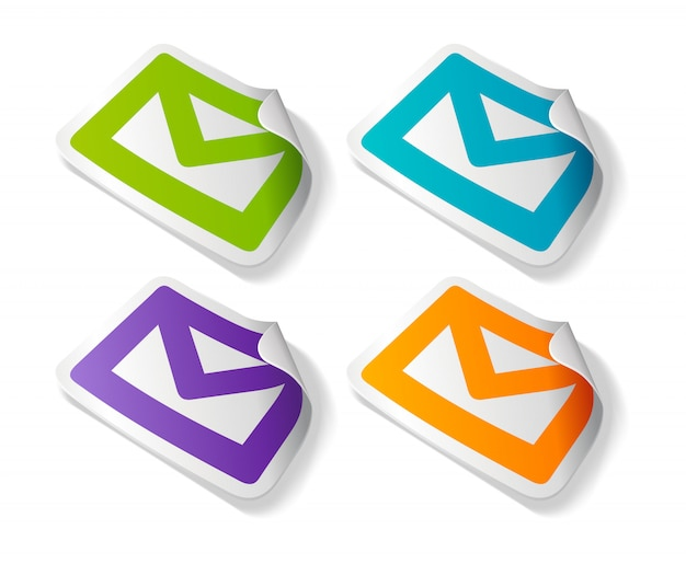 Set of colorful email stickers illustration