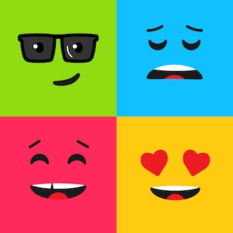 Set of colorful emoticon. background pattern with emoji. vector illustration in flat style.