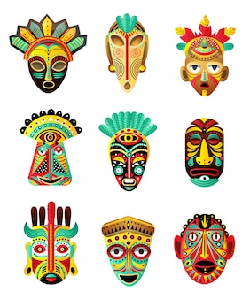 Set of colorful ethnic, african, mexican mask, ritual element